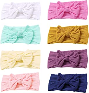 Baby Nylon Headbands Hairbands Hair Bow Elastics for Baby Girls Newborn Infant Toddlers Kids (Mix Color-8PCS)