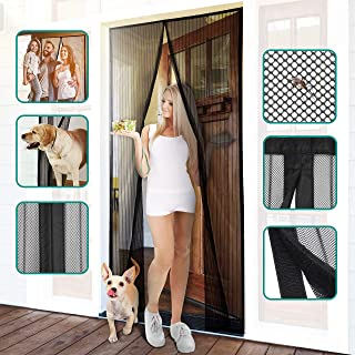 "Homitt Magnetic Screen Door with Heavy Duty Mesh Curtain and Full Frame Hook&Loop Fits Door Size up to 37""-82"" Max"