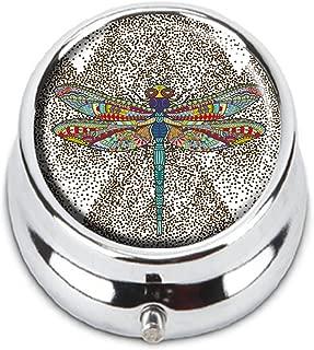 Guojew Dragonfly Stylized animal insect Custom Fashion Round Pill Box Tablet Holder Pocket Purse Organizer Case Decoration Box
