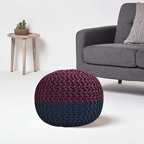Neha Fab s Home Pouf Puffy for Living Room Sitting Round Ottoman Bean Filled Stool for Foot Rest Home Furniture Rope Twisted Bean Bag Design 14 inch Height Multicolour
