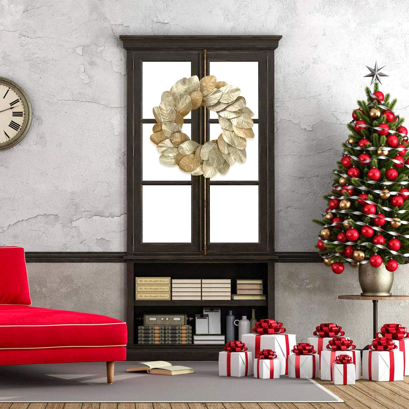 Holiday 20 Inch Home Decor for Indoor Door Wreath Flushed with Eucalyptus Leaves with Red Berry with Pine Needle Decoration YNYLCHMX Artificial Christmas Wreath for Front Door Wall Windows