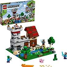 Minecraft Game Caja Modular 3.02en1Castillo Fortaleza Granja Set con Figuras de Steve, Alex y Creeper, color surtido (Lego ES 21161)