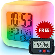 SuperKart Automatic 7 Color Lights Changing LED Alarm Clock with Date, Time, Temperature with Mini Desk/Table Clock