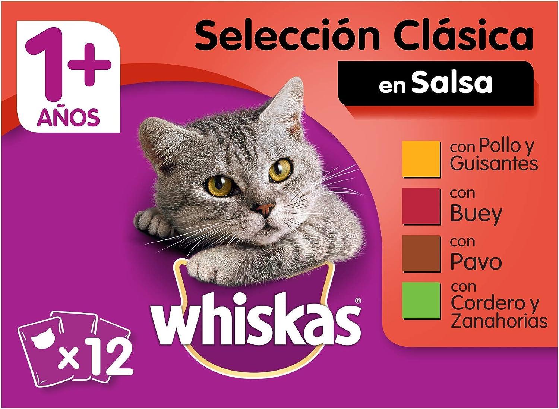Whiskas Selección Multipack Bolsitas de Comida Húmeda para Gatos Adultos Selección Carnes (4 cajas x 12 bolsitas x 100g)