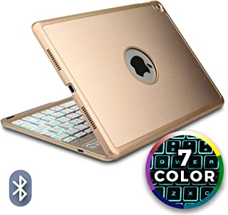 Cooper Notekee F8S Keyboard Case for iPad Air 2, iPad Pro 9.7 | Wireless Clamshell Cover with Keyboard Backlit | LED Backlight, 60HR Battery (Gold)