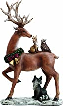 Napco Standing Reindeer with Woodland Animals 13.5 Inch Resin Christmas Tabletop Figurine