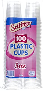 Settings [100 Cups] 3 Oz Clear Plastic Disposable Reusable Cups for Drinking, Bathroom, Rinsing, Tests, Medication, Party, Home, Office, Water, Juice, 1 Pack