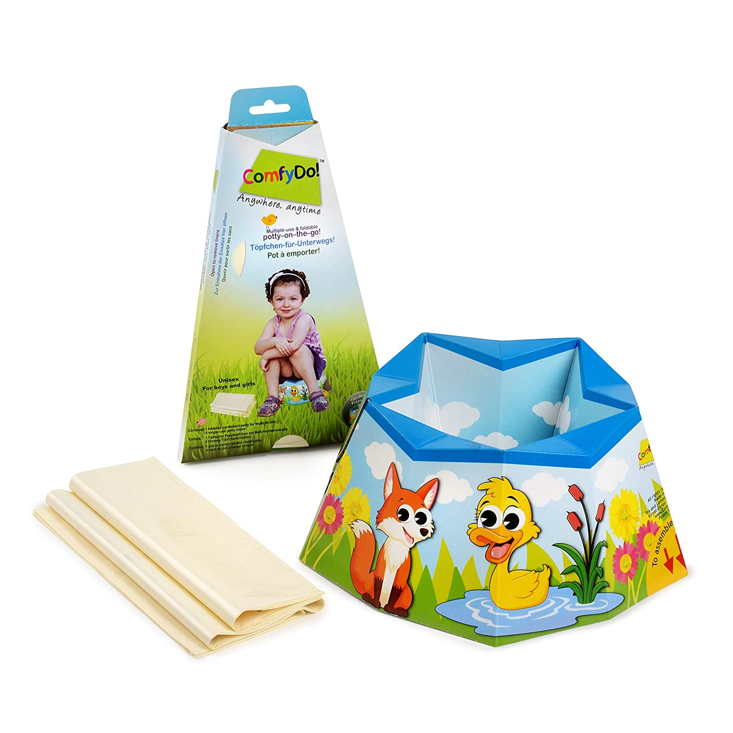 COMFYDO! Foldable and Disposable Multiple-Use Travel Potty Training, Garden Friends, (Azure)