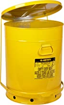 Justrite, 09701, Oily Waste Can, 21 Gal, Steel, Yellow