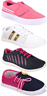 Camfoot Women's (9030-765-11028-5026) Multicolor Casual Sports Running Shoes (Set of 4 Pair)