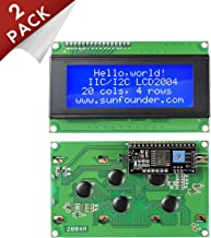 SunFounder 2004 20x4 LCD Module IIC I2C Interface Adapter Blue Backlight for Raspberry Arduino UNO R3 MEGA2560 (2 Pack)