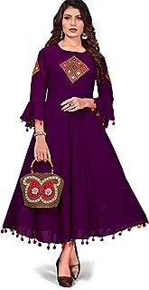 Aarya Enterprise Women's Faux Georgette Anarkali Round Neck Bell Sleeves Kurta with Patch Work