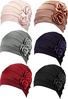 6 Pieces Women Turban Flower Caps Vintage Beanie Headscarf Elastic Headwrap Hat