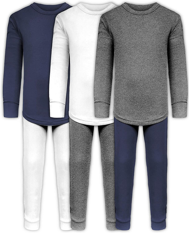 Boys Long John Ultra-Soft Cotton Sung Fit Base Layer Underwear Sets / 3 Long Sleeve Tops + 3 Long Pants - 6 Piece Mix & Match (3 Sets - White/Grey/Navy, 4): Clothing