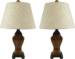 Mestar Natural Color Set of 2 Table Lamps with Handmade Linen Shades