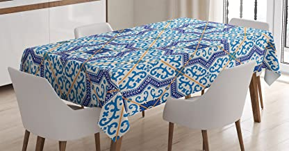 Ambesonne Moroccan Tablecloth, Moroccan Portuguese Style Classic Tiles Ornaments Historical Buildings Art, Dining Room Kitchen Rectangular Table Cover, 52