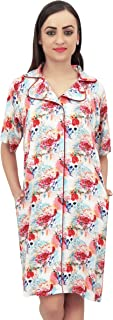 Bimba Floral Printed Women's Notched Collar Shirt Night Dress with Pockets