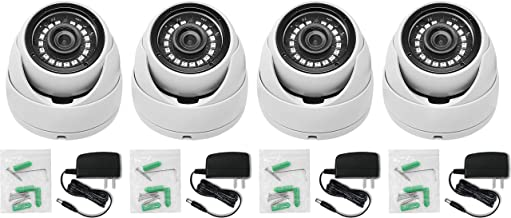 Raynon 1080P HD 4-in-1 TVI/CVI/AHD/960H IP65 Security Cameras, 3.6mm Lens, for HD-TVI, AHD, CVI, and CVBS/960H Analog DVR, with UL Listed Power Supply, 4 Cameras