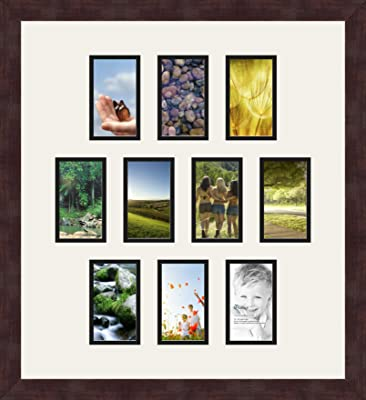 Art to Frames Double-Multimat-464-88//89-FRBW26061 Collage Frame Photo Mat Double Mat with 10-4x6 and 2-3x4 Openings and Espresso frame