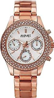 ساعة اوجست ستينر دايموند للنساء بسوار من الستانلس ستيل كرونوغراف - AS8100RG