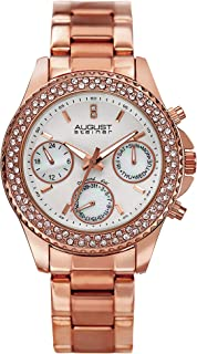 August Steiner Women's Multifunction Fashion Watch - Crystal Bezel around Diamond Dial with Day of Week, Date, and 24 Hour Mother Of Peal Subdial on Rose Gold Tone Stainless Steel Bracelet - AS8100