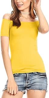 off shoulder yellow shirt