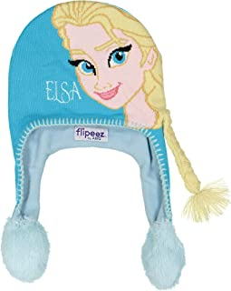 Disney Winter Hat, Frozen Squeeze and Flap Fun Cold Weather Beanie for Kids, Blue, Little Girl Age 4-7