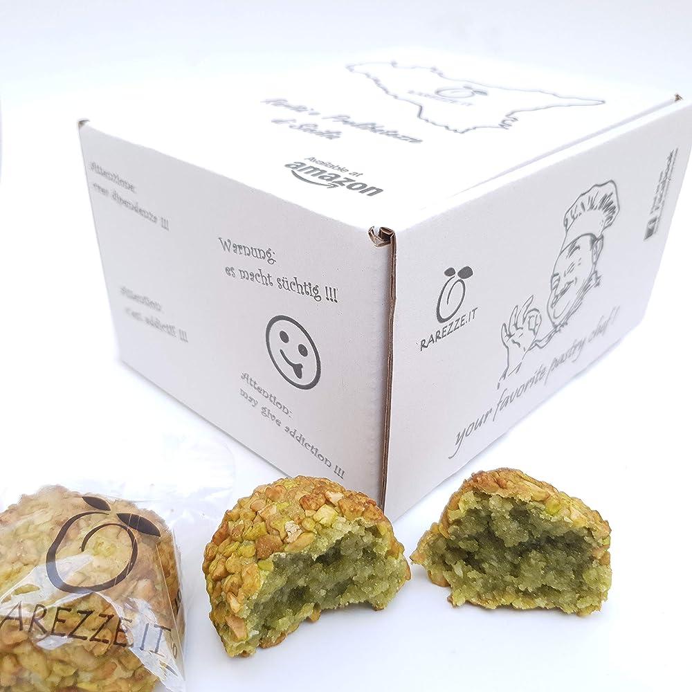 Rarezze,paste di mandorla siciliane al pistacchio con granella, in grazioso box regalo (gr. 400)