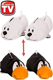 FlipaZoo AS SEEN ON TV Slippers White Seal Transforming to Penguin Size Large - Two in One Warm & Comfy Plush Slippers