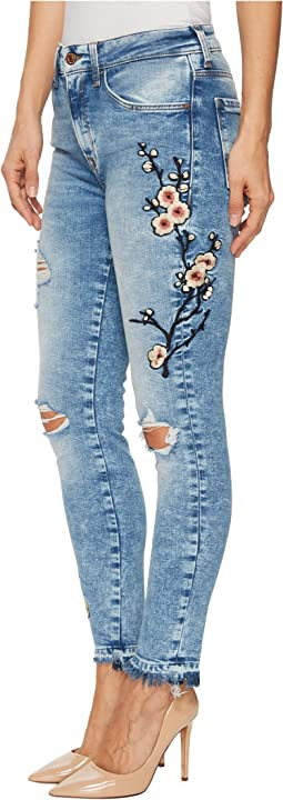 Tess High-Rise Ankle Super Skinny in Mid Japanese Embroidery