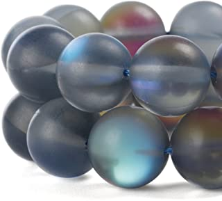 RUBYCA 8mm Round Moonstone Matte Crystal Glass Beads Aura for Jewelry Making Grey, 1 Strand