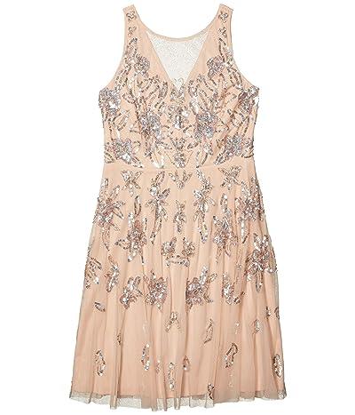 Adrianna Papell Beaded Tea Length Dress (Champagne Sand) Women