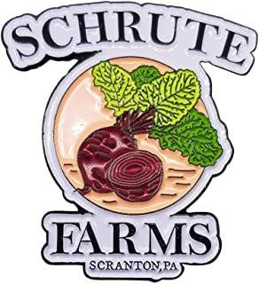 Stickeroonie Schrute Farms Beets Enamel, Lapel Pin, From The Office, 1.25 Inches