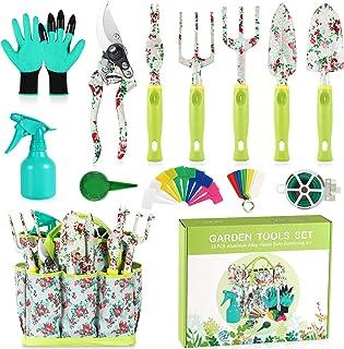 Juego de herramientas de jardín, regalos de jardinería, 13 piezas de herramientas de jardinería con asa con estampado flor...