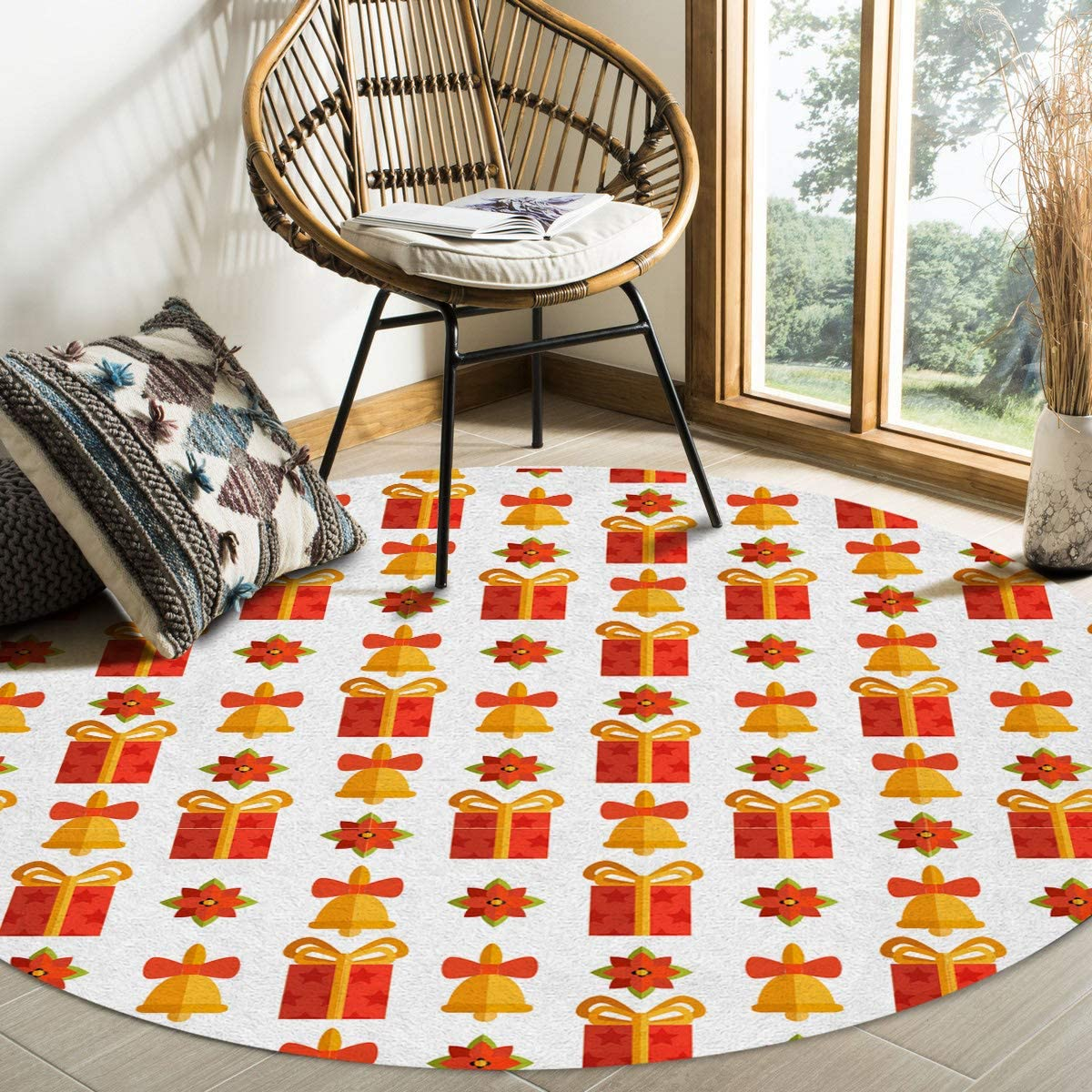 Max 53% Spring new work OFF Modern Round Area Rug 5 Feet for Low-Profi Bedroom Non-Shedding