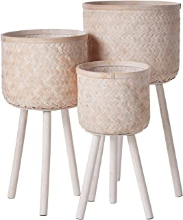 Bloomingville Set of 3 Round Bamboo Floor Baskets with Wood Legs, Brown