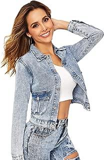 Floerns Women's Flap Pocket Bleach Wash Button Up Denim Jacket