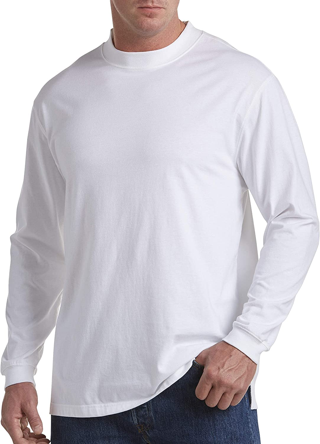 Harbor Bay by DXL Big and Tall Moisture-Wicking Long-Sleeve Shirt, White XTall
