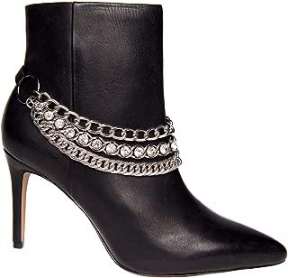 Women's Triple Chain & Rhinestone Boot Straps Black