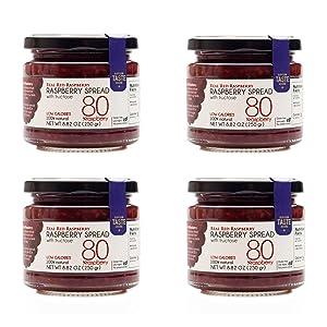 Real Red Raspberry Jam, 80% Whole Raspberries inside, Like Eating Fresh Raspberries, Low Carb Preserves, Healthy Fruit Spread, Net 8.82 Oz (Pack of 4 jars)