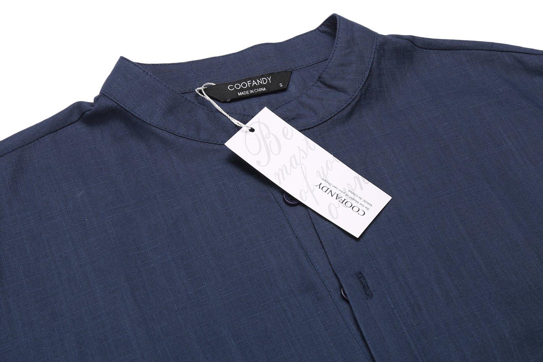 Men's Cotton Linen Henley Shirt Long Sleeve Hippie Casual Beach T Shirts