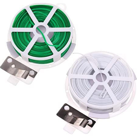 30M//50M Plant Twist Tie with Cutter Sturdy Green Coated Wire for Gardening Home