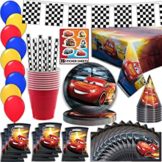 Disney Cars Party Supplies, Serves 16 - Plates, Napkins, Tablecloth, Cups, Straws, Balloons, Loot Bags, Stickers, Birthday Hats, Flag Banner - Full Tableware, Decorations, Favors for