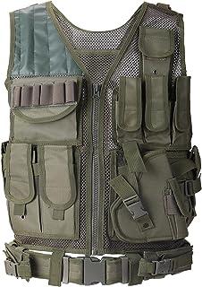 Lixada Tactical Vest Mens Polyester Military Hunting Waistcoat for Airsoft War Game Fishing Hiking Hunting