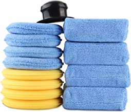 13PCS Soft Car Wash Sponges Large, 5 Inch Durable Foam Polishing Waxing Cleaning Pad Kit, Fit for Car Care Body Seat Leather, with Grip Handle
