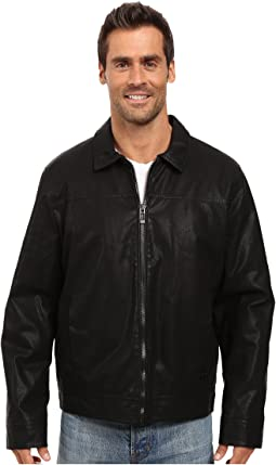 Calvin Klein Faux Leather Shirt Collar Jacket