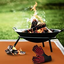 """FIRE PIT MAT 61""""x39""""+ BBQ Gloves - Pad Patio Fireproof Protector Grass Deck Grill - Resistant Bbq Lawn Outdoor Gas Firepit..."""