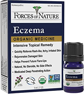 Forces Of Nature – Natural, organic eczema Care (5ml) Non Gmo, No Harmful Chemicals or Steroids –Relieve Dry, Itchy, Red, Irritated Skin While Soothing, Restoring Skin