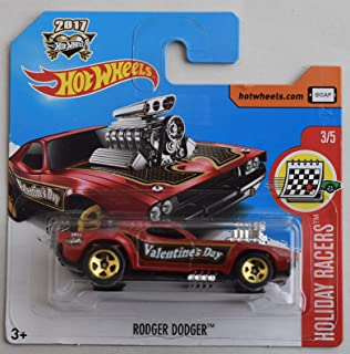 Hot Wheels 1:64 Scale Holiday Racers 3/5 RED Rodger Dodger Valentine's Day 2017 Short Card