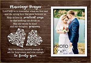 Buecasa Wedding Signs Marriage Prayer Picture Frame 5x7 Inches - Home Wedding Gifts Bedroom Decor for Couples - Marriage gifts for Women Bride to Be